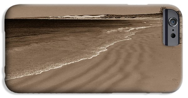 Beach Landscape Pyrography iPhone Cases - Morning walk iPhone Case by Katarina Smelikova