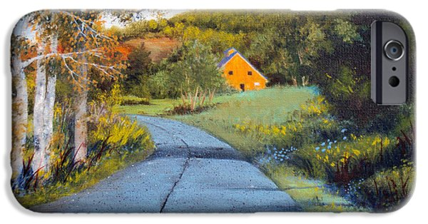 Maine Farms Paintings iPhone Cases - Morning Walk iPhone Case by Laura Tasheiko