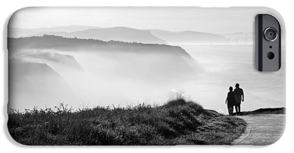 Cliff iPhone Cases - Morning Walk With Sea Mist iPhone Case by Mikel Martinez de Osaba