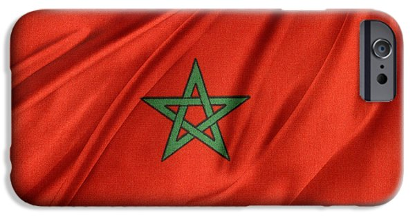 Patriotism iPhone Cases - Moroccan flag iPhone Case by Les Cunliffe
