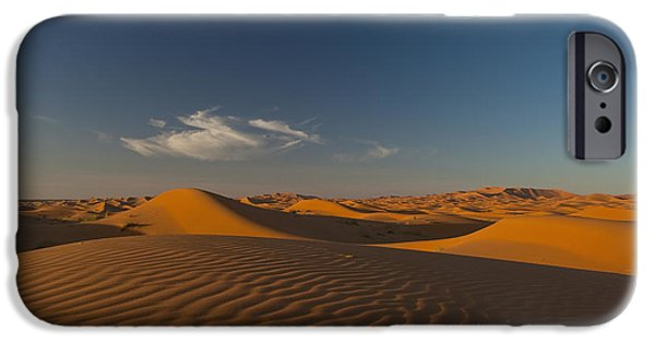 Sahara Sunlight iPhone Cases - Morocco, Sand Dune At Dusk iPhone Case by Ian Cumming