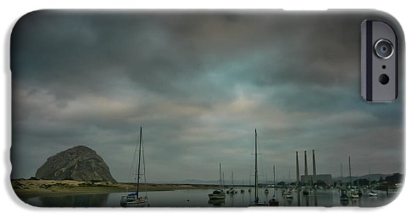 Clouds Glass Art iPhone Cases - Morro Bay iPhone Case by Mitch Shindelbower