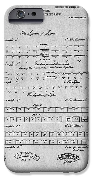 Business Photographs iPhone Cases - Morse Code Original Patent iPhone Case by Edward Fielding
