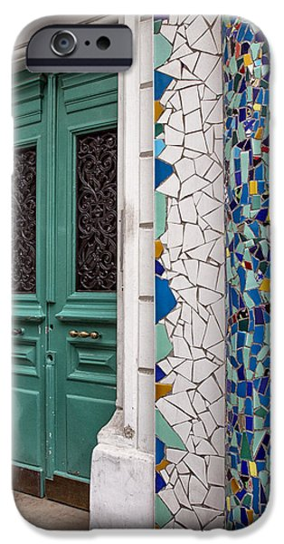 Mosaic iPhone Cases - Mosaic Door in Montmartre iPhone Case by Nomad Art And  Design