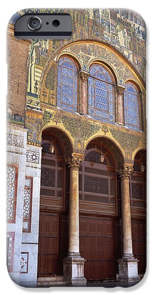 Facade iPhone Cases - Mosaic Facade Of A Mosque, Umayyad iPhone Case by Panoramic Images