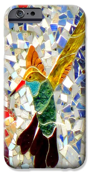 Mosaic iPhone Cases - Mosaic Hummingbird iPhone Case by Randall Weidner
