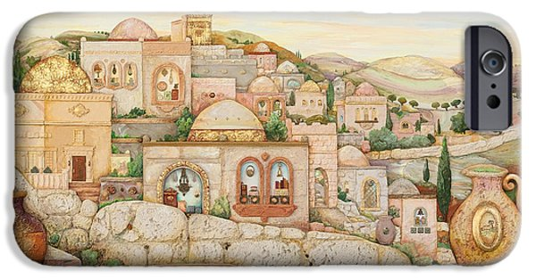 Ancient Paintings iPhone Cases - Mosaic Jerusalem  iPhone Case by Michoel Muchnik