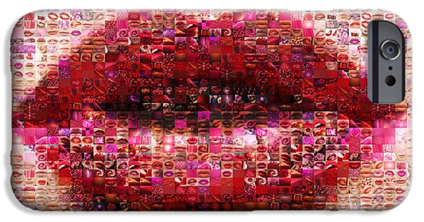 Lips iPhone Cases - Mosaic Lips iPhone Case by Gina Dsgn