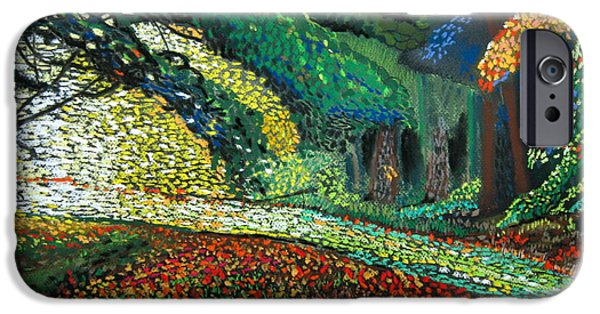 Mosaic Pastels iPhone Cases - Mosaic Nature Walk iPhone Case by Mike Benton