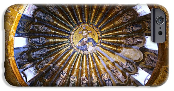 Greek Icon iPhone Cases - Mosaic of Christ Pantocrator iPhone Case by Stephen Stookey