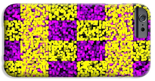 Shape iPhone Cases - Mosaic - Purple and Yellow iPhone Case by Anastasiya Malakhova
