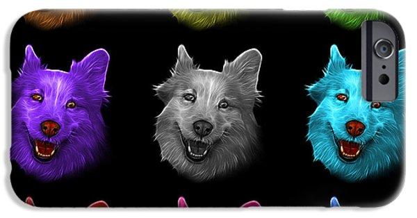 Mixed Labrador Retriever Paintings iPhone Cases - Mosaic Siberian Husky Mix Dog Pop Art - 5060 BB - M iPhone Case by James Ahn