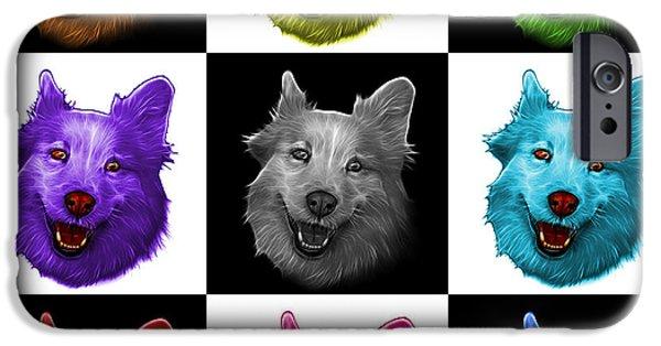 Mixed Labrador Retriever Paintings iPhone Cases - Mosaic Siberian Husky Mix Dog Pop Art - 5060 V1 - M iPhone Case by James Ahn