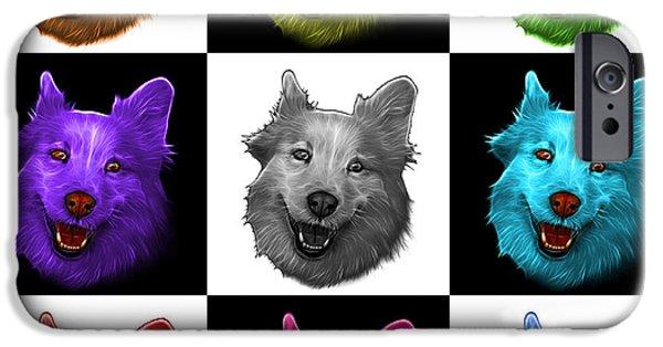 Mixed Labrador Retriever Paintings iPhone Cases - Mosaic Siberian Husky Mix Dog Pop Art - 5060 V2 - M iPhone Case by James Ahn