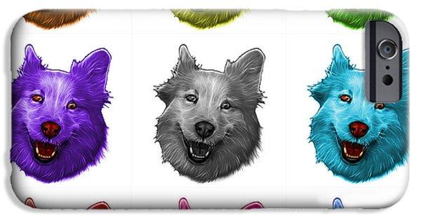 Mixed Labrador Retriever Paintings iPhone Cases - Mosaic Siberian Husky Mix Dog Pop Art - 5060 WB - M iPhone Case by James Ahn