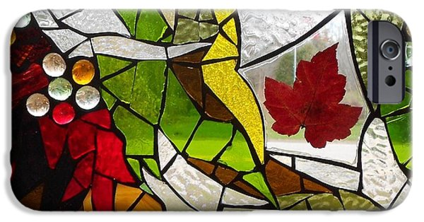 Autumn Glass Art iPhone Cases - Mosaic Stained Glass - Autumn  iPhone Case by Catherine Van Der Woerd