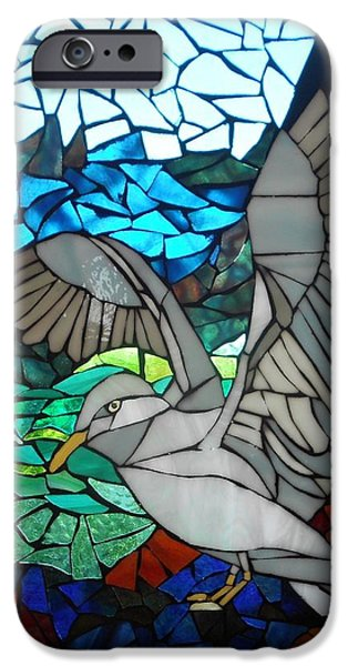 Flight Glass iPhone Cases - Mosaic Stained Glass - Blue Rocks iPhone Case by Catherine Van Der Woerd