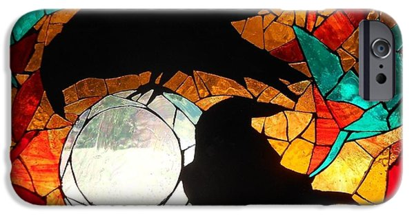 Nature Glass Art iPhone Cases - Mosaic Stained Glass-Crows iPhone Case by Catherine Van Der Woerd