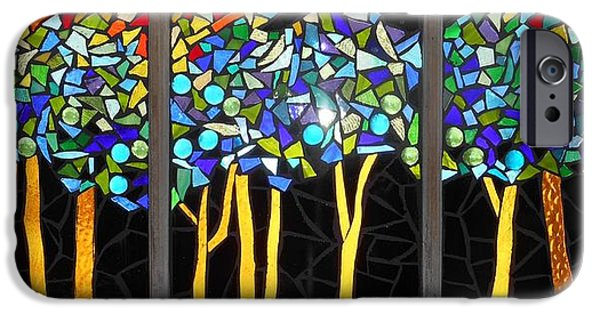 Forest Glass iPhone Cases - Mosaic Stained Glass - Dark Forest iPhone Case by Catherine Van Der Woerd