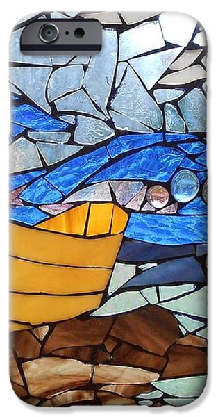 Mosaic Stained Glass - Dory  iPhone Case by Catherine Van Der Woerd