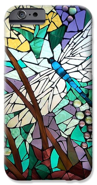 Snake Glass Art iPhone Cases - Mosaic Stained Glass - Dragonfly 3 iPhone Case by Catherine Van Der Woerd