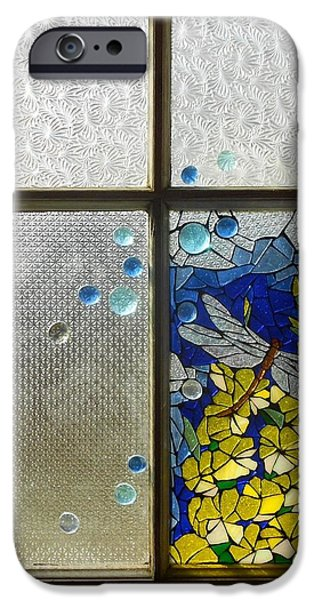 Mosaic Stained Glass - Dragonfly In The Window iPhone Case by Catherine Van Der Woerd