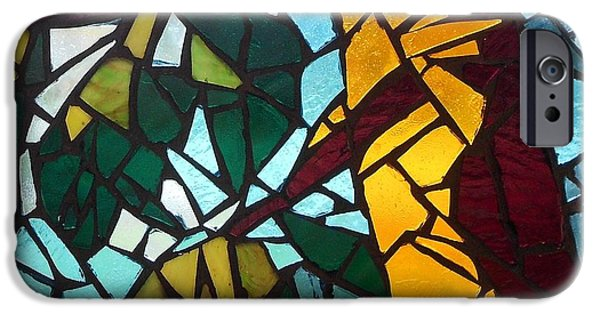 Forest Glass iPhone Cases - Mosaic Stained Glass - First tree iPhone Case by Catherine Van Der Woerd