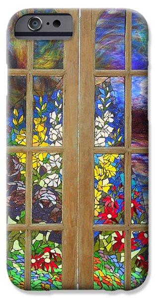Mosaic Stained Glass - Flower Garden iPhone Case by Catherine Van Der Woerd