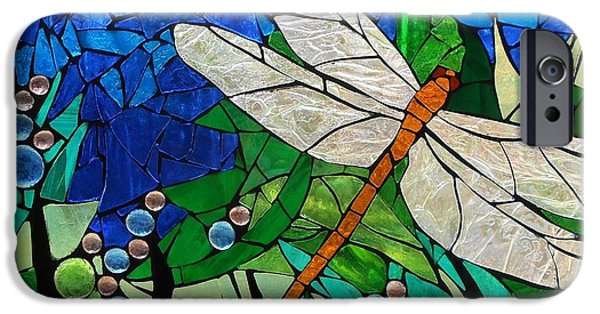 Flight Glass iPhone Cases - Mosaic Stained Glass - Golden Brown Dragonfly iPhone Case by Catherine Van Der Woerd