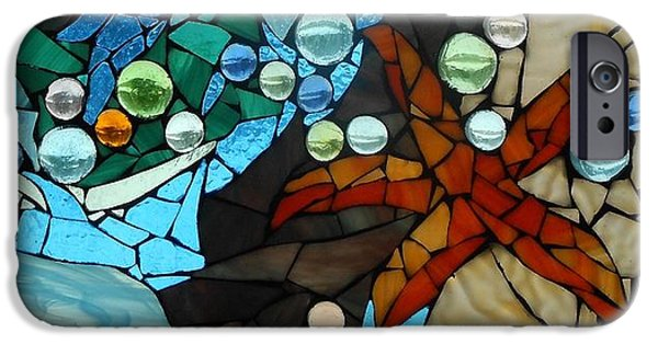 Nature Glass Art iPhone Cases - Mosaic Stained Glass - Low Tide iPhone Case by Catherine Van Der Woerd