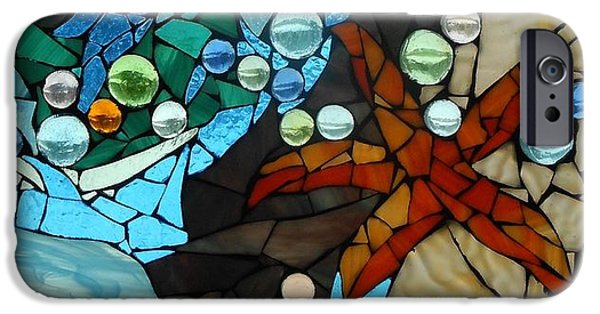 Beach Glass iPhone Cases - Mosaic Stained Glass - Low Tide iPhone Case by Catherine Van Der Woerd