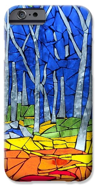 Mosaic Stained Glass - My Woods iPhone Case by Catherine Van Der Woerd
