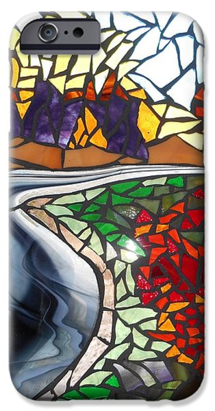 Autumn Glass Art iPhone Cases - Mosaic Stained Glass - Road to Bear River iPhone Case by Catherine Van Der Woerd