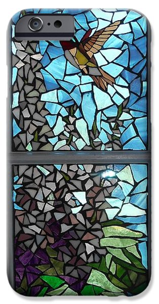 Summer Glass iPhone Cases - Mosaic Stained Glass - Ruby-throated Hummingbird iPhone Case by Catherine Van Der Woerd