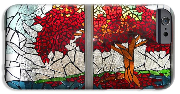 Autumn Glass Art iPhone Cases - Mosaic Stained Glass - Shades Of Red iPhone Case by Catherine Van Der Woerd