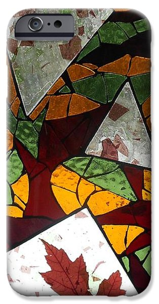 Autumn Glass Art iPhone Cases - Mosaic Stained Glass - The Last to Fall iPhone Case by Catherine Van Der Woerd