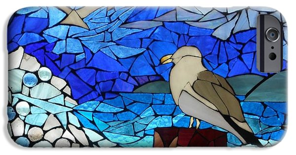 Flight Glass iPhone Cases - Mosaic Stained Glass - Threes a crowd iPhone Case by Catherine Van Der Woerd