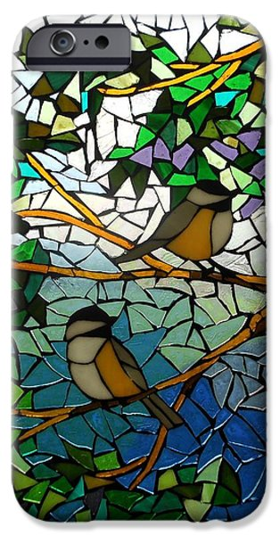 Summer Glass iPhone Cases - Mosaic Stained Glass - Two Little Chickadees iPhone Case by Catherine Van Der Woerd