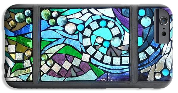 River Glass iPhone Cases - Mosaic Stained Glass - Water Abstract iPhone Case by Catherine Van Der Woerd