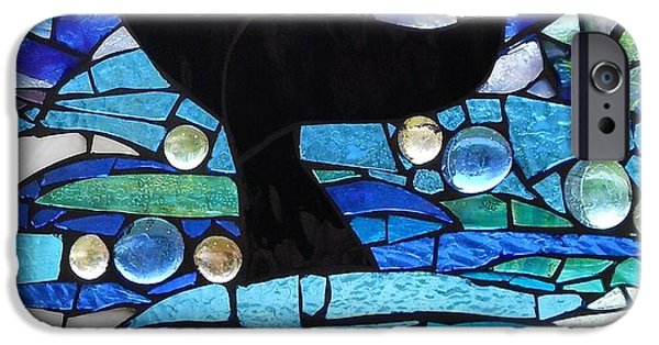 Sailing Glass Art iPhone Cases - Mosaic Stained Glass - Whale Tail iPhone Case by Catherine Van Der Woerd