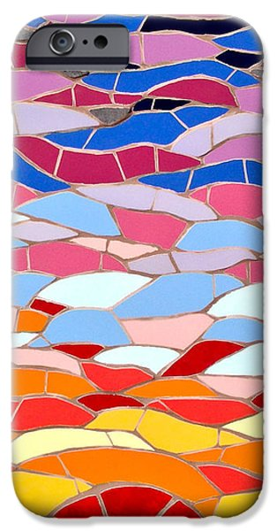 Sunset Ceramics iPhone Cases - Mosaic sunset iPhone Case by Felicity Ball