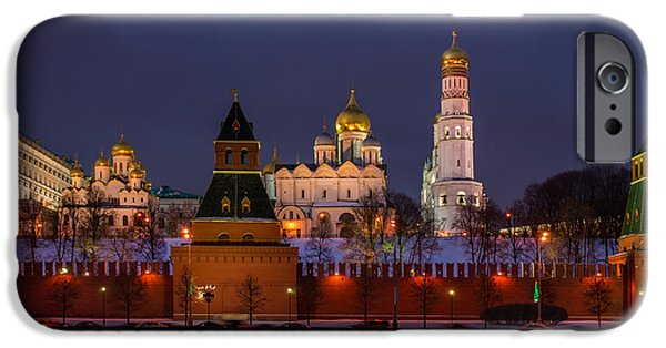 Annunciation iPhone Cases - Moscow Kremlin Cathedrals At Night - Featured 3 iPhone Case by Alexander Senin