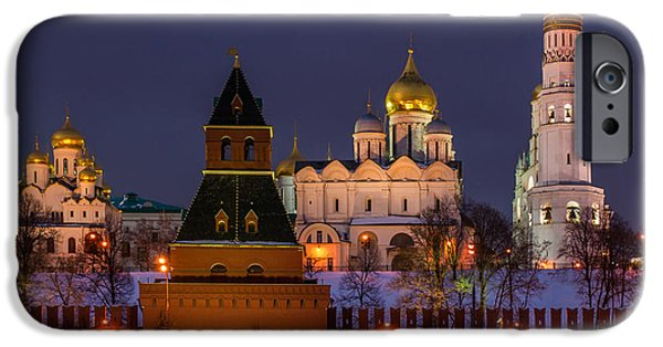 Annunciation iPhone Cases - Moscow Kremlin Cathedrals At Night - Square iPhone Case by Alexander Senin