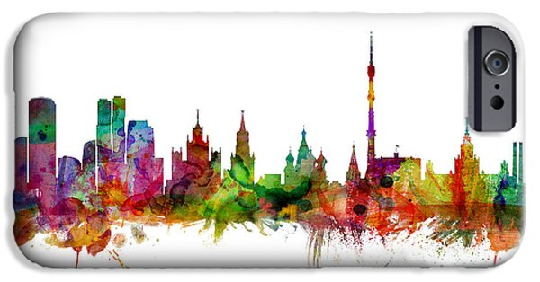 Watercolour Art iPhone Cases - Moscow Russia Skyline iPhone Case by Michael Tompsett