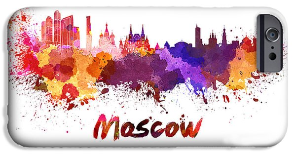 Moscow iPhone Cases - Moscow skyline in watercolor iPhone Case by Pablo Romero