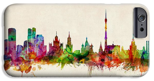Watercolour Art iPhone Cases - Moscow Skyline iPhone Case by Michael Tompsett
