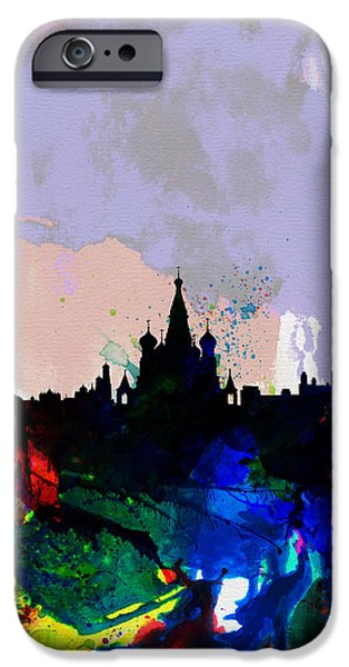 Moscow iPhone Cases - Moscow Watercolor Skyline iPhone Case by Naxart Studio