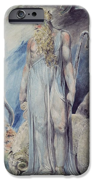 Blake iPhone Cases - Moses and the Burning Bush iPhone Case by William Blake