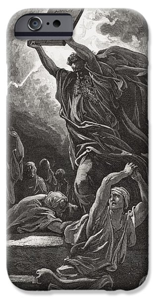 Storm Drawings iPhone Cases - Moses Breaking the Tablets of the Law iPhone Case by Gustave Dore