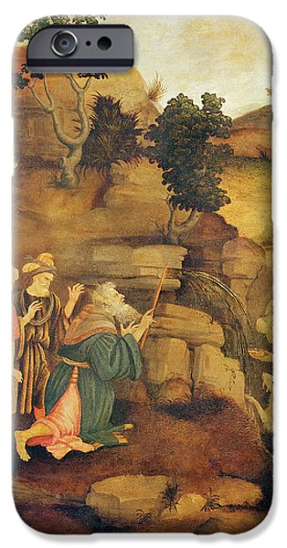 Miracle Photographs iPhone Cases - Moses Brings Forth Water Out Of The Rock, C.1500 Detail iPhone Case by Filippo Lippi